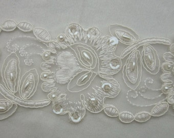 IVORY Beaded Flower Leaf Lace Trim embellished w pearls sequins embroidered organza christening doll wedding bridal veil