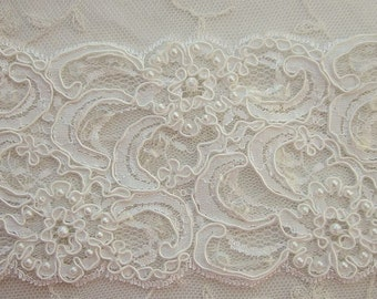 3 inch Ivory Cream Pearl Sequin Beaded Lace French Tulle Ribbon Trim Bridal Veil Sash Wedding Invitation