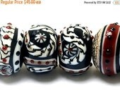 ON SALE 45% OFF 10205321 - Six Dakota Quilt Rondelle Beads - Handmade Glass Lampwork Beads Set