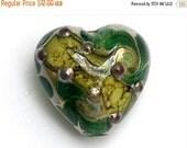 ON SALE 50% OFF 11816305 - Dark Green w/Silver Foil Heart Focal Bead - Handmade Lampwork Bead