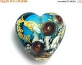 ON SALE 40% OFF Aqua Treasure Heart Focal Bead - Handmade Glass Lampwork Bead 11819805 - Gold Foil