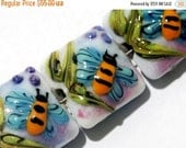 ON SALE 30% OFF Glass Lampwork Bead Set - Seven Bumble Bee Dreams Pillow Beads 11007404