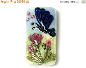 ON SALE 50% OFF Glass Lampwork Bead - Blue Sparkle Garden Butterfly Kalera Focal Bead 11835003