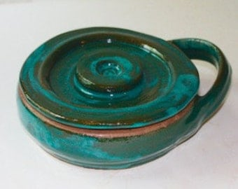 Turquoise Stoneware Shaving Mug with Lid Made in Vermont A Green Item