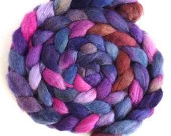 BFL Wool Roving - Hand Painted Spinning or Felting Fiber, Whispered Loyalty