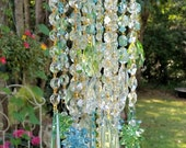 Pastels Antique Crystal Wind Chime, Aqua Blue Green Crystal Wind Chime, Garden Decoration, Home Decoration