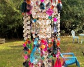 Antique Bohemian Crystal Wind Chime, Gypsy Wind Chime, Jeweled Wind Chime, Garden Decor, Home Decor
