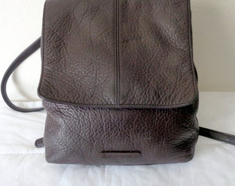 Leather CO backpack brown buttery pebbled leather, sling bag ,day pack, rucksac vintage 80s, very clean flawless condition