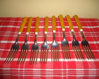 Vintage Butterscotch set of 8 Bakelite Forks Flatwear