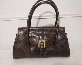 Ann Taylor Genuine Leather Purse Brown Purse 1970s Faux Reptile Purse