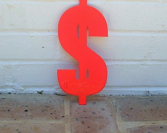 Vintage Metal Sign Vintage Metal Dollar Sign Chippy Painted Dollar Sign Old Rusty Dollar Sign Vintage Marquee Sign 9 1/2 Inches Tall