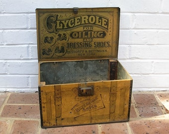 Antique Metal Tin Box Antique Glycerole Shoe Oil Box R&B New York 100 Years Old