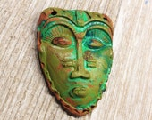 21. African Savanah  Mask  Teal Blue Gold Rust Earthenware Pendant