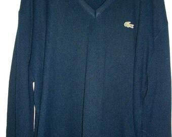 Vintage 70s 80s Izod LACOSTE navy blue sweater XL
