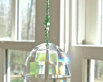 "Green Crystal Chain Swarovski Crystal Fan Pull, Light Pull, or SunCatcher, Housewarming Gift, ""GABRIELLA GREEN"""