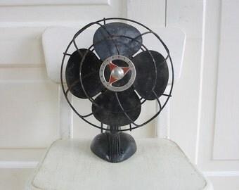 Vintage Metal Fan, Black Fan, Industrial Decor, Handy Breeze Fan, Retro Fan