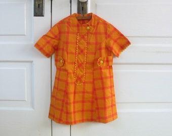 Vintage Girl Dress Retro Orange Plaid Checked Mod Rick Rack Handmade 3T Easter