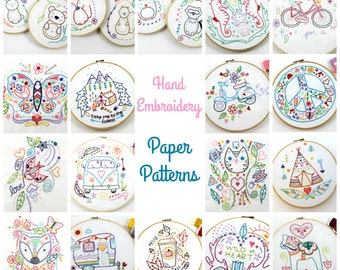 Paper Embroidery Patterns. Hand Embroidery Patterns. Woodland. Cute. Gift Idea.