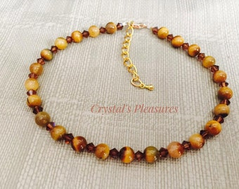Tiger Eye & Swarovski Brown Smoked Topaz Anklet Bracelet