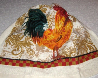 Crochet hanging towel, Rooster, Orange top