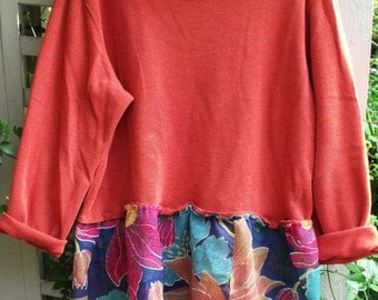 Plus Size Tunic/ Upstyled 2X Top/ Orange and Floral/ Fall, 2016/ Sheerfab Funwear