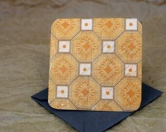 Blank Mini Card Set of 10, Geometric Design with Contrasting Polka Dot on the Inside, Metallic Steel Envelopes, mad4plaid