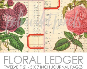 Floral Ledger Digital Junk Journal Printable Pages Paper Pack