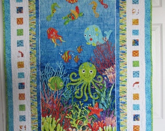 "UNDER THE SEA Baby Quilt,  33""x45"""