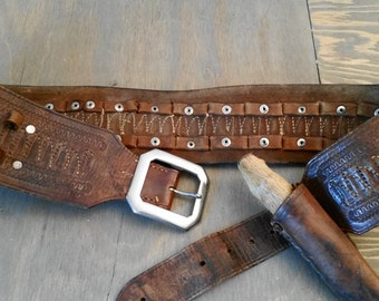 Vintage Tooled and Hand Stitched Leather Ammo Belt or Bandolier and Knife Sheath with Deer Hoof Tool