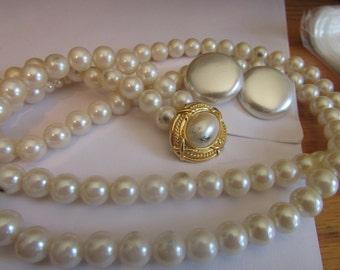vintage pearl necklace plus buttons