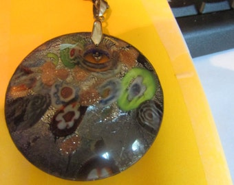 Foiled big glass pendent