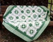 Priced reduced - Vintage Green and White Quilt