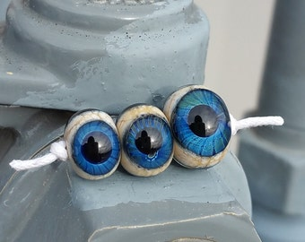 Three Sided Blue Eyeball Lampwork Glass Beads