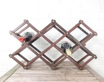 Vintage Wine Rack - Mid Century Wood Accordion Folding Wine Rack - Wooden Towel or Magazine Stand - Display
