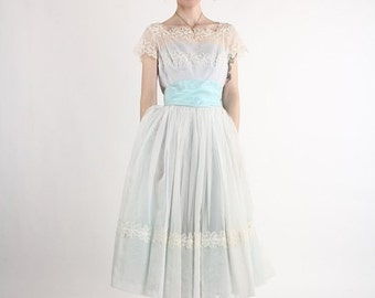 ON SALE 1950s Ball Gown by 'Emma Domb' . Robins Egg Blue. Princess. Prom. Cinderella