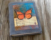 SALE monarch journal - distressed waxed gray canvas vegan hope peace meditation journal