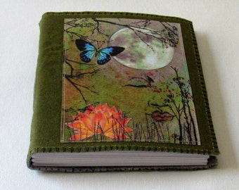 Peaceful Moments 01 - waxed green canvas mid size journal