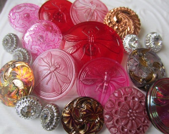 Vintage Style Buttons - large pink and red assortment beautiful Czech pressed glass designs, 6 small glass with rhinestones (sept 321)