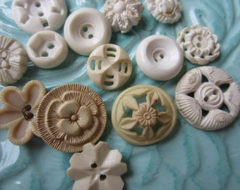Vintage Buttons - Cottage chic mix of fancy white,and off white lot of 14 old and sweet(sept 400)