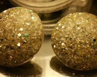 Silver Glitter Confetti Lucite Pierced on earrings