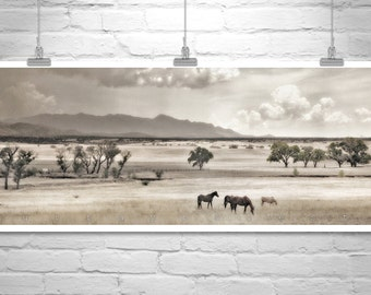 Horse Photography, Horse Picture, Horse Print, Equestrian Art, Western Landscape, Ranch Picture, Panoramic Art, Equine Print