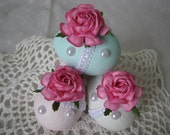 Hand Painted Paper Mache Easter Eggs Pink Rose Aqua White Pearls Lace Basket Decor Spring
