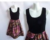 Vintage 60s Dress Size S Black Velvet Silk Mod Cocktail Hippie Purple Paisley