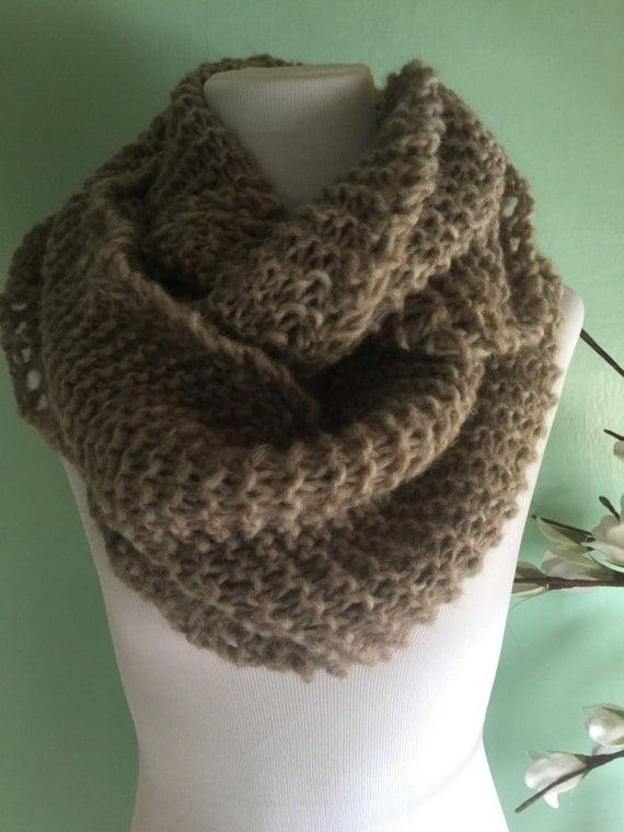 Outlander Inspired Hand Knit Infinity Fashion Scarf with Alpaca Yarn Soft and Lightweight Hare Heather