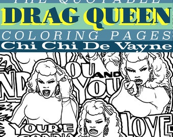 ChiChi Devayne Mini Coloring Collection Instant Download PDF 2 Pages   Ru Pauls Drag Race Season 8   adult COLORING pages   Made by Lauren B
