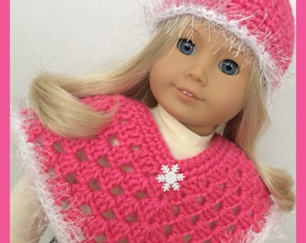 Handmade Doll Clothes To Fit American Girl,  2 Pc, Crochet Hot Pink Snowflake Poncho Set, 18 Inch Handmade