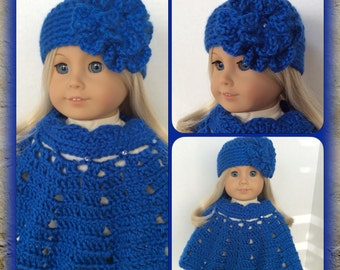 Doll Clothes Made To Fit 18 Inch Dolls, Crochet Poncho Set Large Flower Hat, Beautiful Royal Blue, Rhinestones
