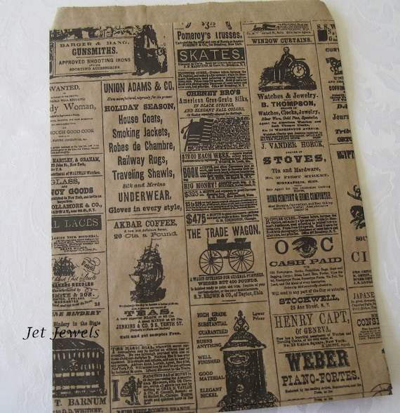 100 Paper Bags, Gift Bags, Newspaper Bags, Newsprint Bags, Merchandise Bags, Kraft Bags, Brown Paper Bags, Vintage Style Bags 8.5x11