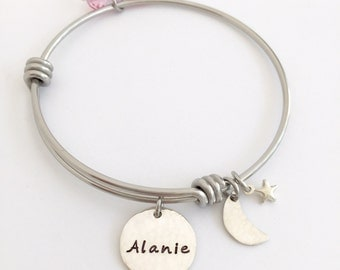 Custom Name Bracelet - Adjustable Bangle Bracelet - Personalized for You - Moon & Star Jewelry