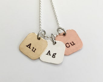 Cute Little Chemist - Mixed Metal Hand Stamped Necklace